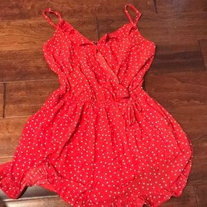 Red and White Polka Dot Romper